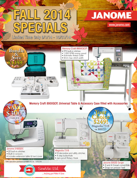 Janome Fall 2014 Specials