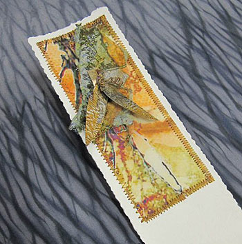 Collaged and Stitched Bookmark